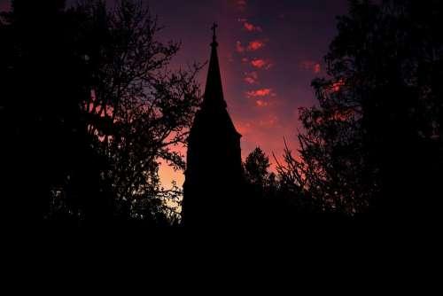 Church Sunset Religion Faith Landscape Silhouette
