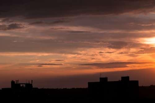 City Night Of The City Building Evening Twilight