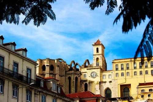 City Portugal Lisbon Lisboa Port Buildings Urban