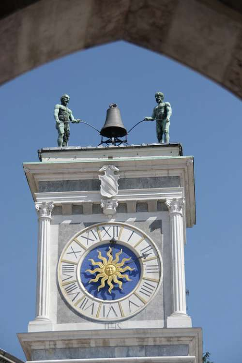Clock Tower Udine Italy Architecture City