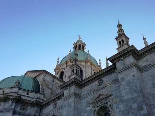 Como Duomo Cathedral Spires Dome Lake Como Italy