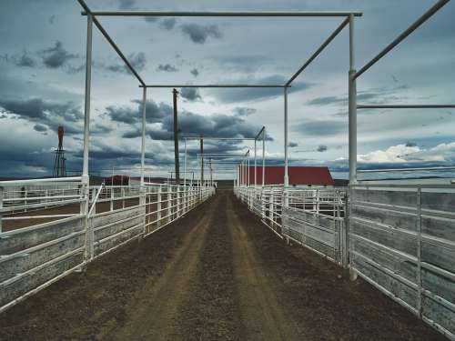 Corral Wyoming America Sky Clouds Mood Ranch
