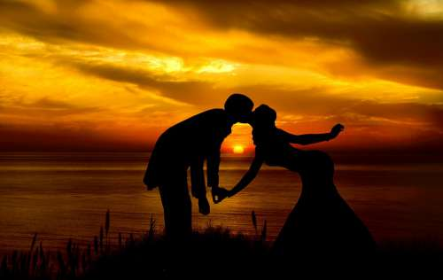 Couple Silhouette Sunset Sunrise Landscape Love