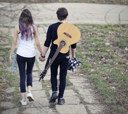 Couple Boy Girl Romance Together Romantic Guitar