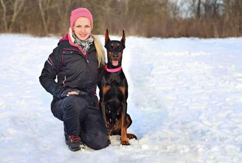 Doberman Dog Woman Friendship Snow Love