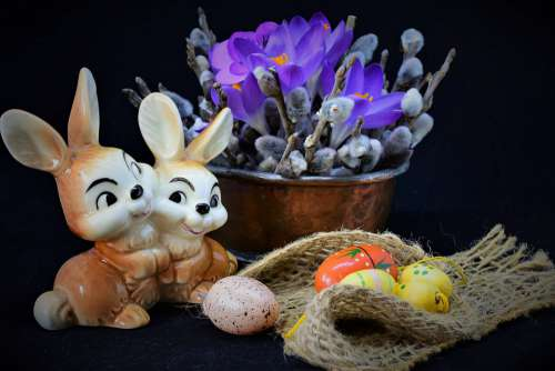 Easter Easter Theme Still Life Crocus Palm Branches