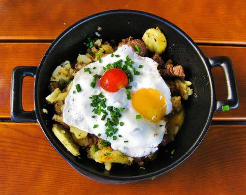 Egg Fried Yolk Food Breakfast Delicious Morning