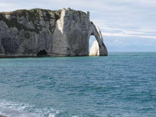 Etretat Cliffs Sea Normandy Blue Nature Ocean