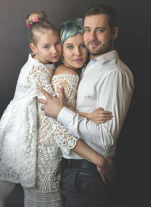Family Portrait Parents Daughter Child Woman Man