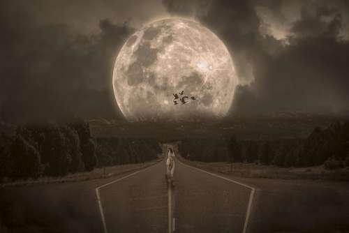 Fantasy Aerial Road Asphalt Fold Woman Clouds