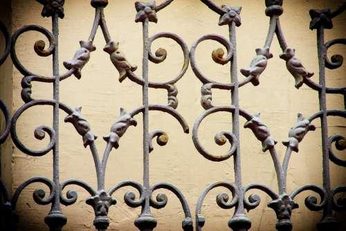 Fence Grid Lattice Fence Iron Metal Solid Passage