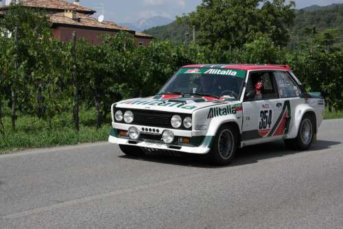 Fiat Rally Race Car Auto Fast Automotive Speed