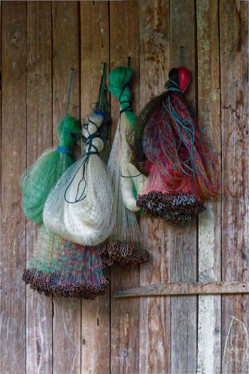 Fishing Nets Hanging Fishing Wooden Wall Old