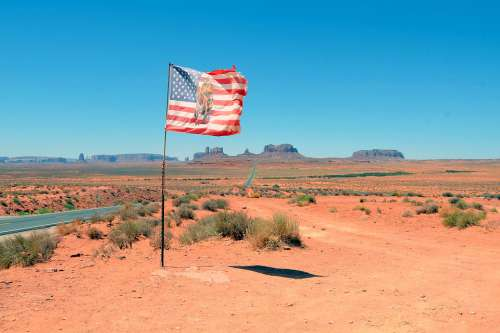 Flag American West Native Monument Valley