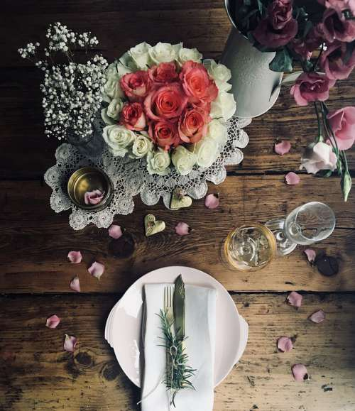 Floral Place Setting Wedding Roses Love Romantic