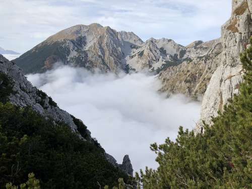 Fog Mountains Landscape Sky Clouds Valley