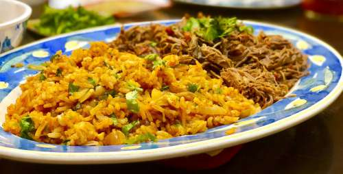 Food Rice Traditional Tasty Beef Plate