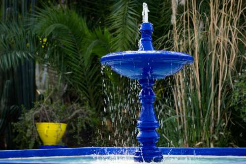 Fountain Jardin Majorelle Marrakech Morocco Blue