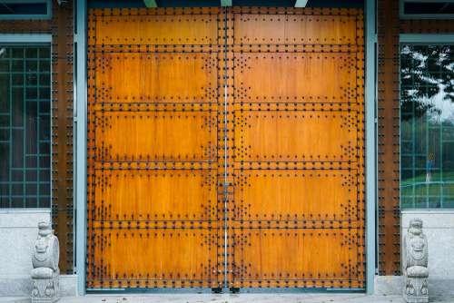 Gate Chinese Gate Cross Orange Rivet Wood