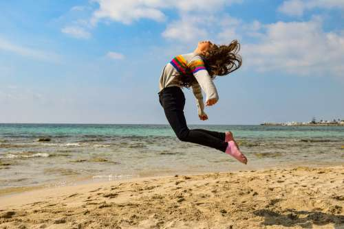 Girl Teenager Jumping Outdoor Athletic Female