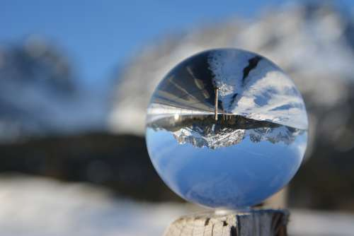 Glass Ball Winter Snow Mirroring Nature Landscape