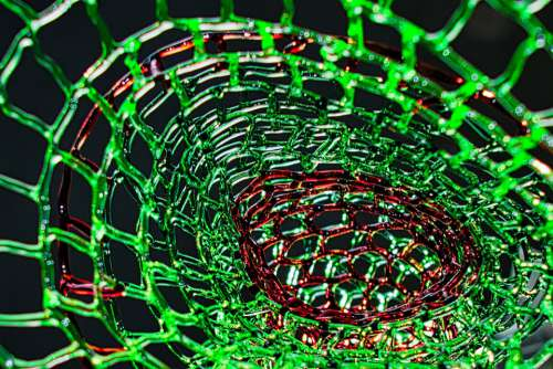 Glass Threads Structure Form Geometric Green Red
