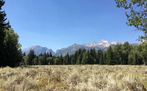 Grand Tetons Wyoming Mountains Prairie Sky Field