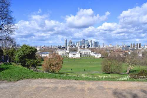Greenwich London Park City Green Clouds Spring