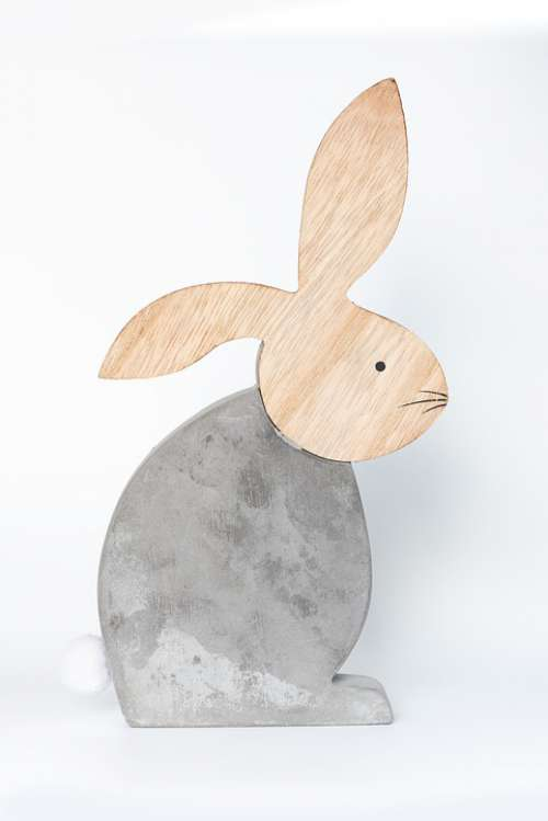 Hare Deco Concrete Wood Decorative Rabbit Easter