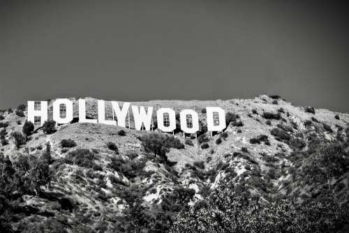 Hollywood Sign Black White Usa Landmark Famous