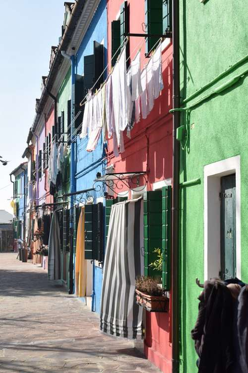 Houses Color Linen Burano Painting Wall Building