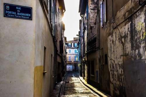 Illuminated Alley Urban Street City Town Scene