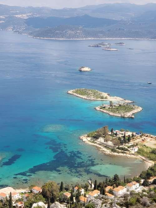 Island Chain Beautiful Sea Ancient Port Sunny Day