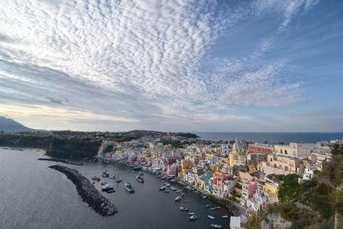 Italy Procida Island Port Clouds Naples Tourism