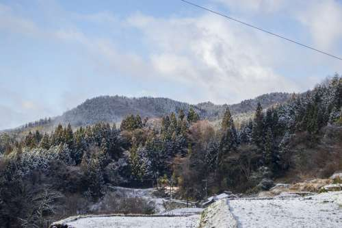 Japan Countryside Landscape Natural Winter Snow
