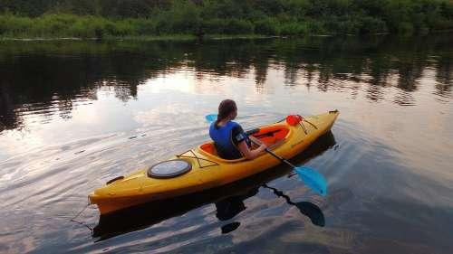 Kayak Girl Lake Paddling Outdoor Young Lifestyle