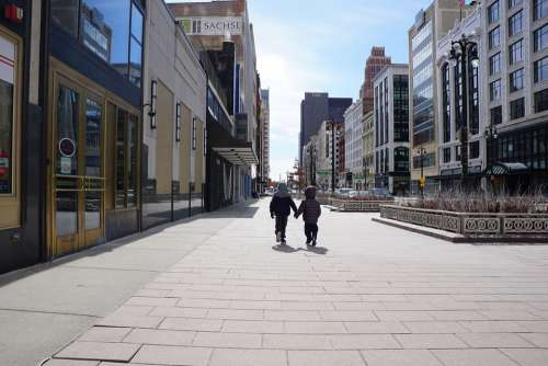 Kids Brothers Boys Holding Hands Walking Detroit