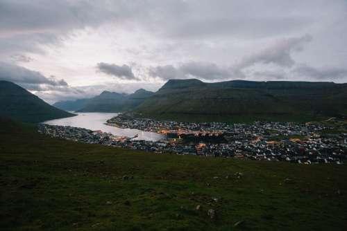 Klaksvik Faroe Islands Water Clouds Sky Village