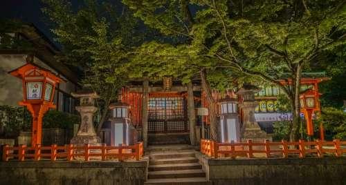 Kyoto Japan Gion Temple Night Japanese