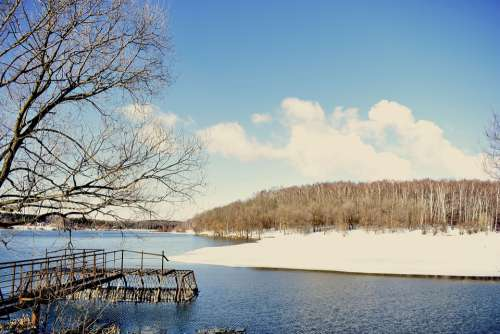 Lake Pond Winter Snow Landscape Nature Water