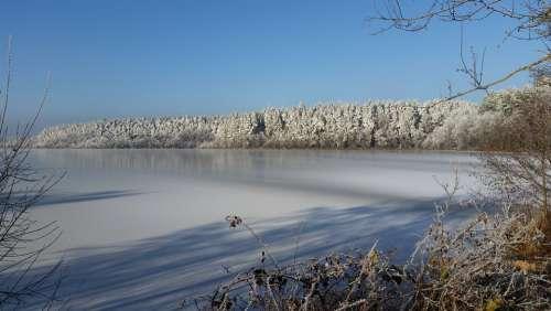 Lake Winter Frozen Nature Landscape Snow Water
