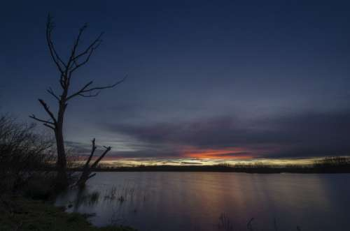 Lake Afterglow Sunset Sky Abendstimmung Nature