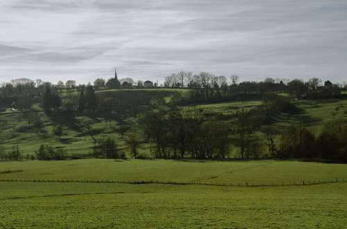 Landscape Normandy France Fields Prairie Rail