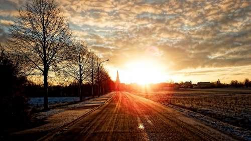 Landscape Winter Sunrise Snow Cold Frost Wintry