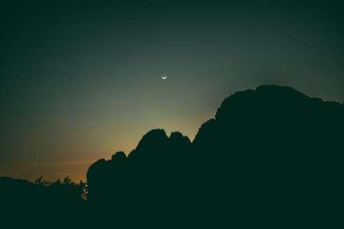 Laos Asia Mountains Dark Sunset Moon Evening Sky