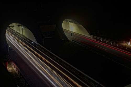 Light Long Exposure Auto Lights Night Highway