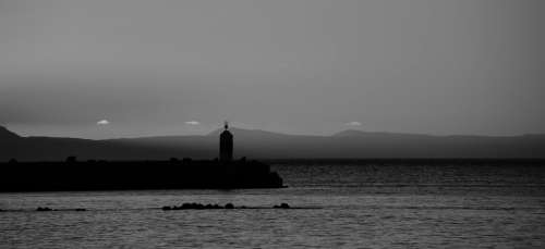Lighthouse Ocean Blackandwhite Sea Water Sunset
