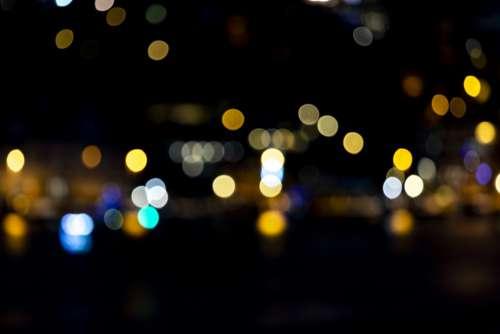 Lights Reflection Geometry Pattern Night Sea City