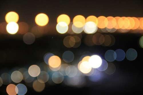 Lights Orange Black Road Evening Background Dusk