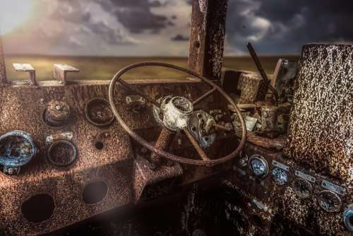 Lost Place Composing Rust Vehicle Driver'S Cab